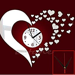 EA-STONE 3D DIY Love Mirror Wall Sticker Clock,Home Living Room Bedroom Art Decor Valentines day Ornament
