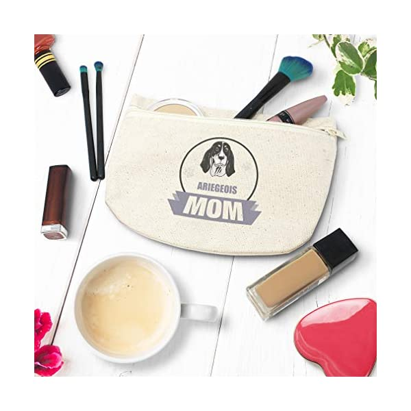 Custom Canvas Makeup Bag Mom Ariegeois Dog School Supplies Pencil Tote Pouch 9x6 Inches Natural Design Only 4