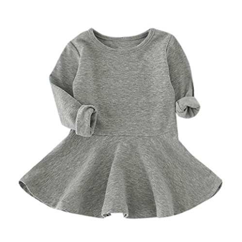 y Girls Candy Color Long Sleeve Princess Casual Dress (3T, Gray) (Dotted Knit Dress)