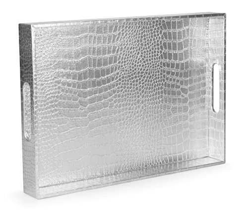 Beautiful Modern Silver 18''x12'' Rectangle Glossy Alligator Croc Decorative Ottoman Coffee Table Perfume Living Dining Room Kitchen Serving Tray With Handles By Home Redefined For All Occassions by Home Redefined