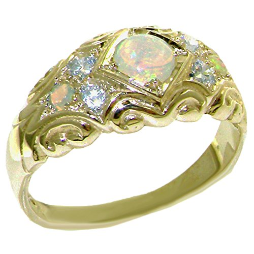 LetsBuyGold 14k Yellow Gold Natural Opal and Diamond Womens Band Ring (0.16 cttw, H-I Color, I2-I3 -