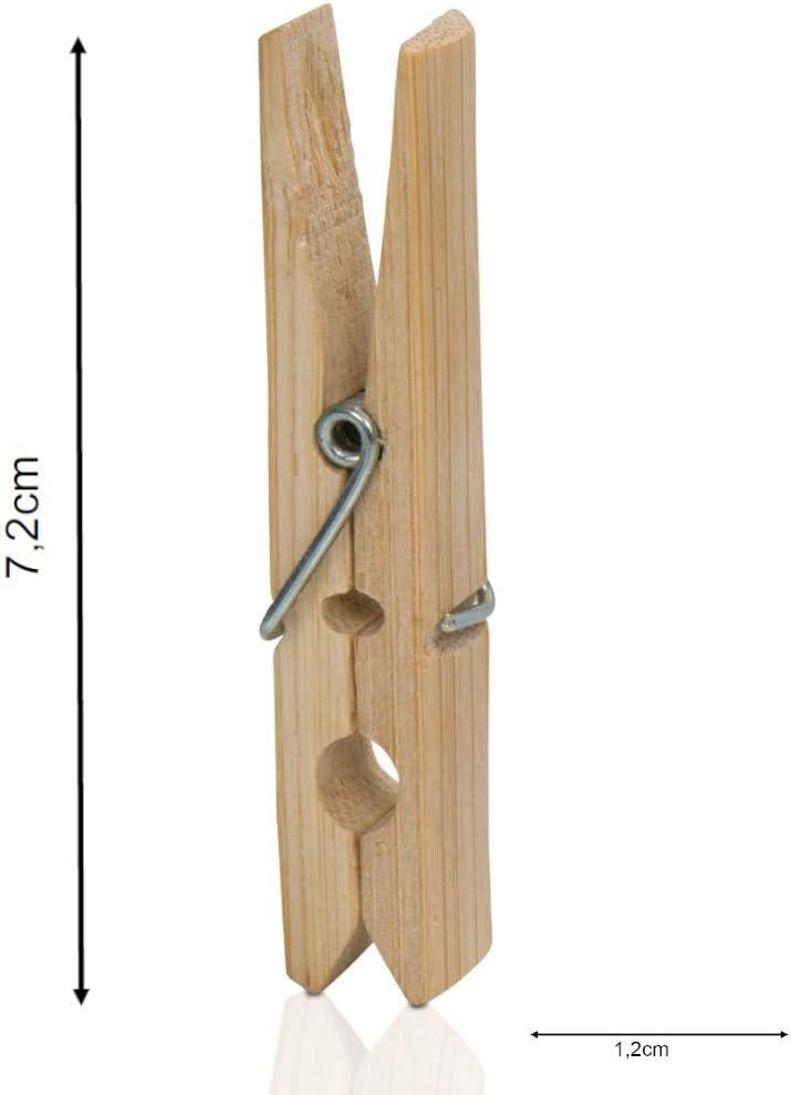 minify Pinzas para la Ropa 50 Unidades, bamb/ú, 7,2 x 1,0 x 1,2 cm