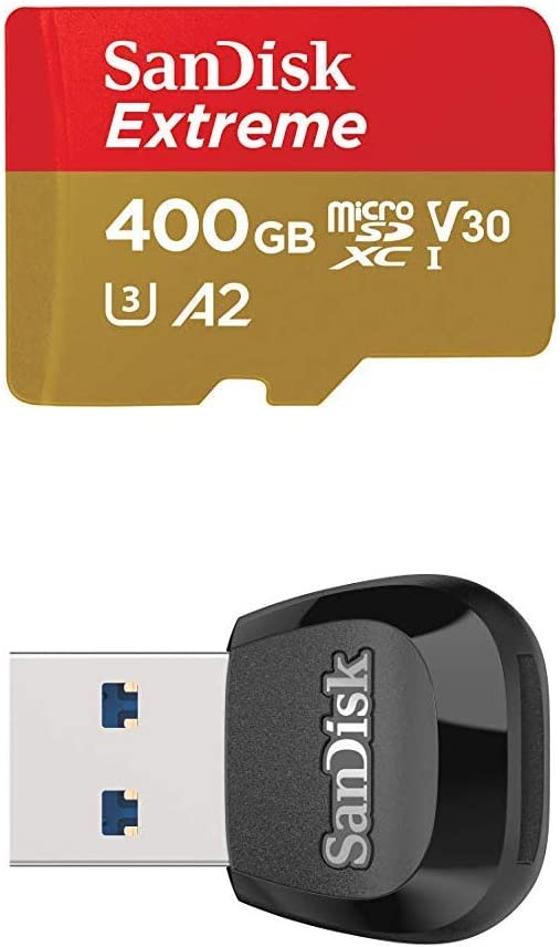 SanDisk Extreme 400GB MicroSD UHS-I Card & Adapter with MobileMate USB 3.0 MicroSD Card Reader