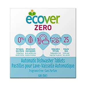 Ecover Naturally Derived Automatic Dishwasher Tablets, Zero Fragrance-Free, 25 Count, 17.6 Ounce