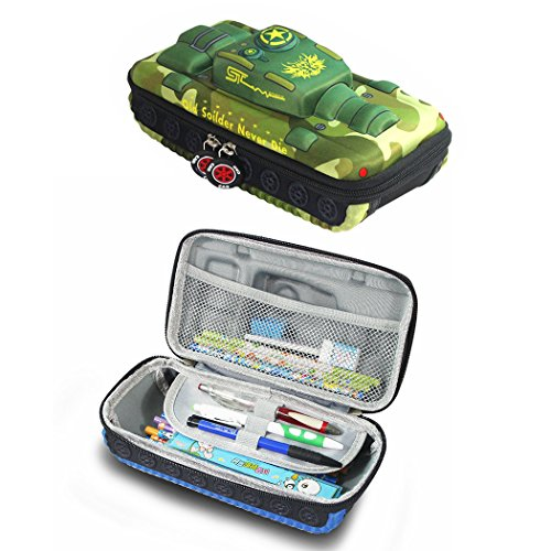 Antmall Super Capacity Pencil case,Eva Shockproof Anti-noise Army Green Tank Shape Cool Student Office College Middle School High School Pen Case Bag Pouch Holder Box Organizer by Antmall