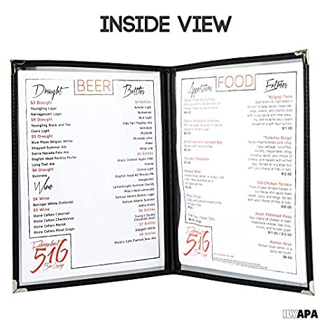 view menu amazoncom 30 pack of menu covers double page 4 view fits 85