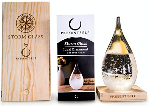 Present Self Large Storm Glass Weather Forecaster - Dazzling Decorative Centerpiece and Pseudo Barometer in Gorgeous Wooden Box | Great Birthday Gift, Cool Gadget, Unique Office Home Decor
