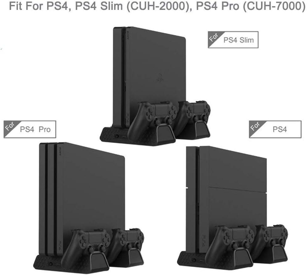 KONKY Soporte Vertical para PS4/PS4 Slim/Pro, Base PS4 con 3 Ventiladores Refrigeración, Cargador Controlador PS4 y 12pcs Almacenamiento de Discos, (Cable USB Incluido) : Amazon.es: Videojuegos