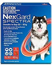 Nexgard, Flea, Tick & Worming Monthly Chew, Spectra, Dog, 30.1-60kg, 6pk