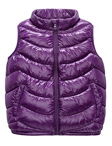 Waterproof Vest Windproof - Boys & Girls Ultra Light Down Packable Vest, Sleeveless Outerwear Compact Windproof Vest Jacket with Collar and Pockets (4-6Y, Purple)
