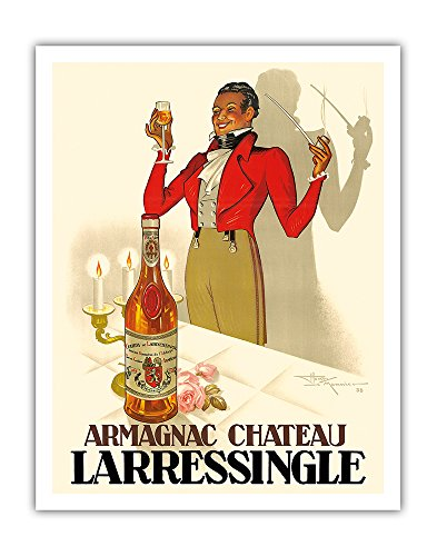 Armagnac Chateau Larressingle - French Brandy - Vintage Advertising Poster by Henri Le Monnier c.1938 - Fine Art Print - 11in x 14in