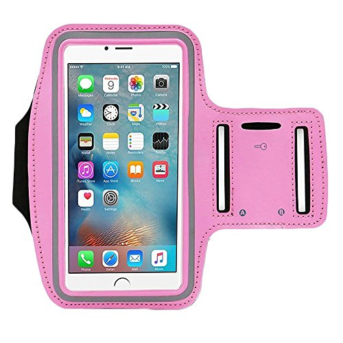 Sweatproof Sports Running Armband for iPhone 7 Plus 6s Plus 6 Plus, Android Samsung Galaxy S8 Plus, Note 3/4/5 (5.5 inch) With Adjustable Velcro, Reflective Workout Band, Key Holder & Screen Protector (Pink Armband)