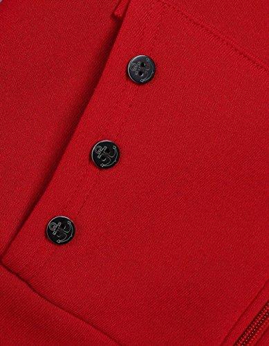 Fur Rouge Veste Tops manteau capuche Epaissir Sweat CRAVOG Fleece D'hiver Femmes Chaud Faux vHwWY6Oq