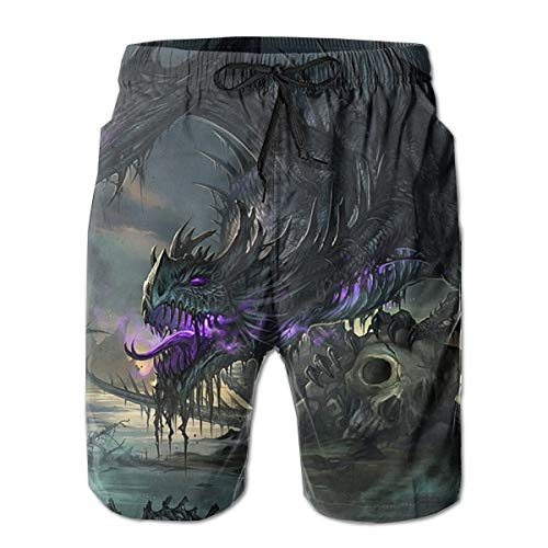 Dragon Boardshorts - Fantasy Awesome Dragon Men's Beach Boardshort Summer Casual Workout Pants with Pockets