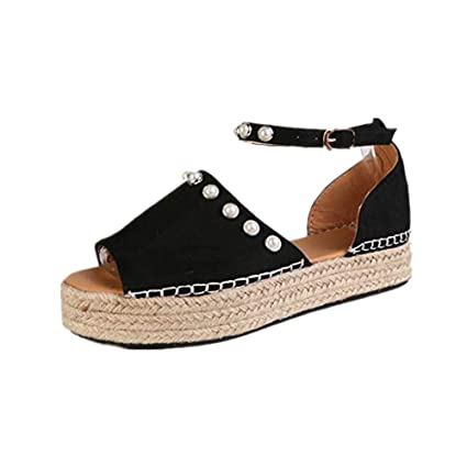 091daf4d54c Amazon.com: CCOOfhhc Women's Espadrilles Sandals Pearl Strap Ankle ...