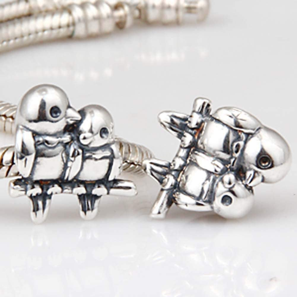Bird Charm 925 Sterling Silver Animal Charm Husband Wife Couple Charm for Bracelets