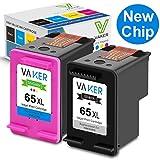 VAKER Remanufactured Ink Cartridge Replacement for HP 65XL 65 XL Used in Envy 5055 5052 5058 DeskJet 2655 2622 2624 2652 3755 3752 3720 3721 3722 3723 3730 3732 Printer (1 Black, 1 Tri-Color)