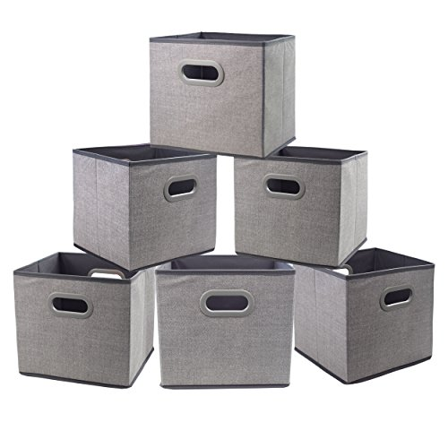 Foldable Cloth Storage Bins, 11x11 Fabric Cube Storage Baskets Containers, Closet Organizer Shelf Nursery Drawer for Clothes,Home,Office, Bedroom with Plastic Handles Set of 6 Grey (Storage Folding Bins Set)