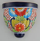 Mexican Talavera Wall Planter Handmade Hand Painted Pottery Planter Wall Hanging Sconce Planter # 28