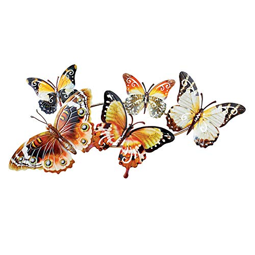 Collections Etc Fluttering Butterflies Metal Wall Décor - Unique and Bold Accent for Any Room in Home