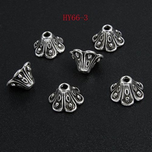 (HYBEADS 100pcs 9mm Nice tibetan Pewter Beads Caps for making jewelry)