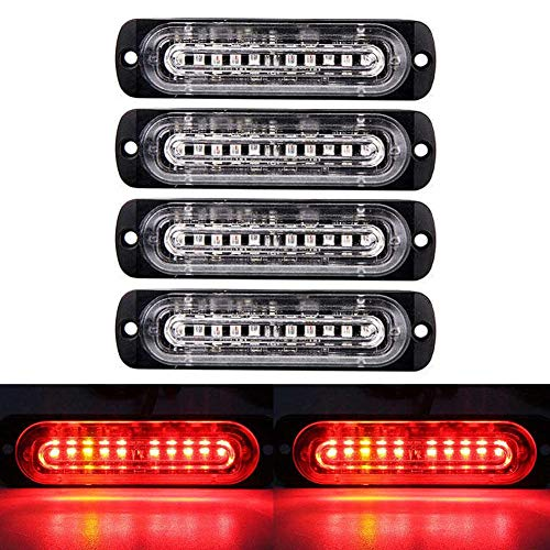 - XT AUTO 4.4-inch Ultra Thin Slim Strobe 10 LED Light Head Emergency Hazard Beacon Caution Warning Strobe Lights for Truck Car Vehicle Law Enforcement Snow Plow Red 4-Pack