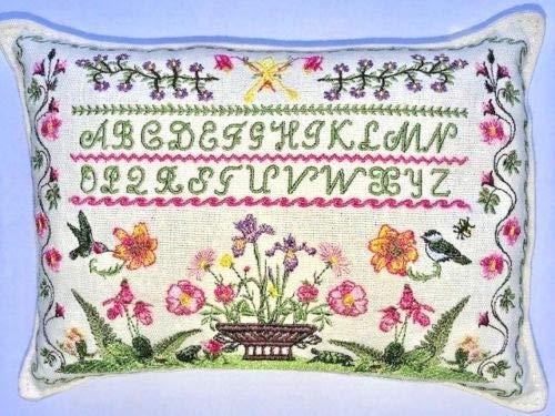 Paine's Balsam FIR枕 6インチ x 9インチ 刺繍入り サンプラー 花 鳥 アルファベット ピンク B07J2WTR94