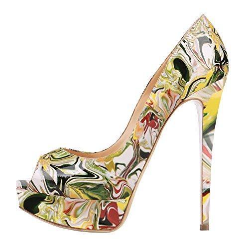 MERUMOTE - Zapatos de Plataforma mujer Yellow-Floral