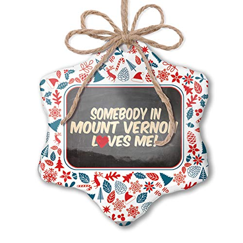 NEONBLOND Christmas Ornament Somebody in Mount Vernon Loves me, New York Red White Blue Xmas