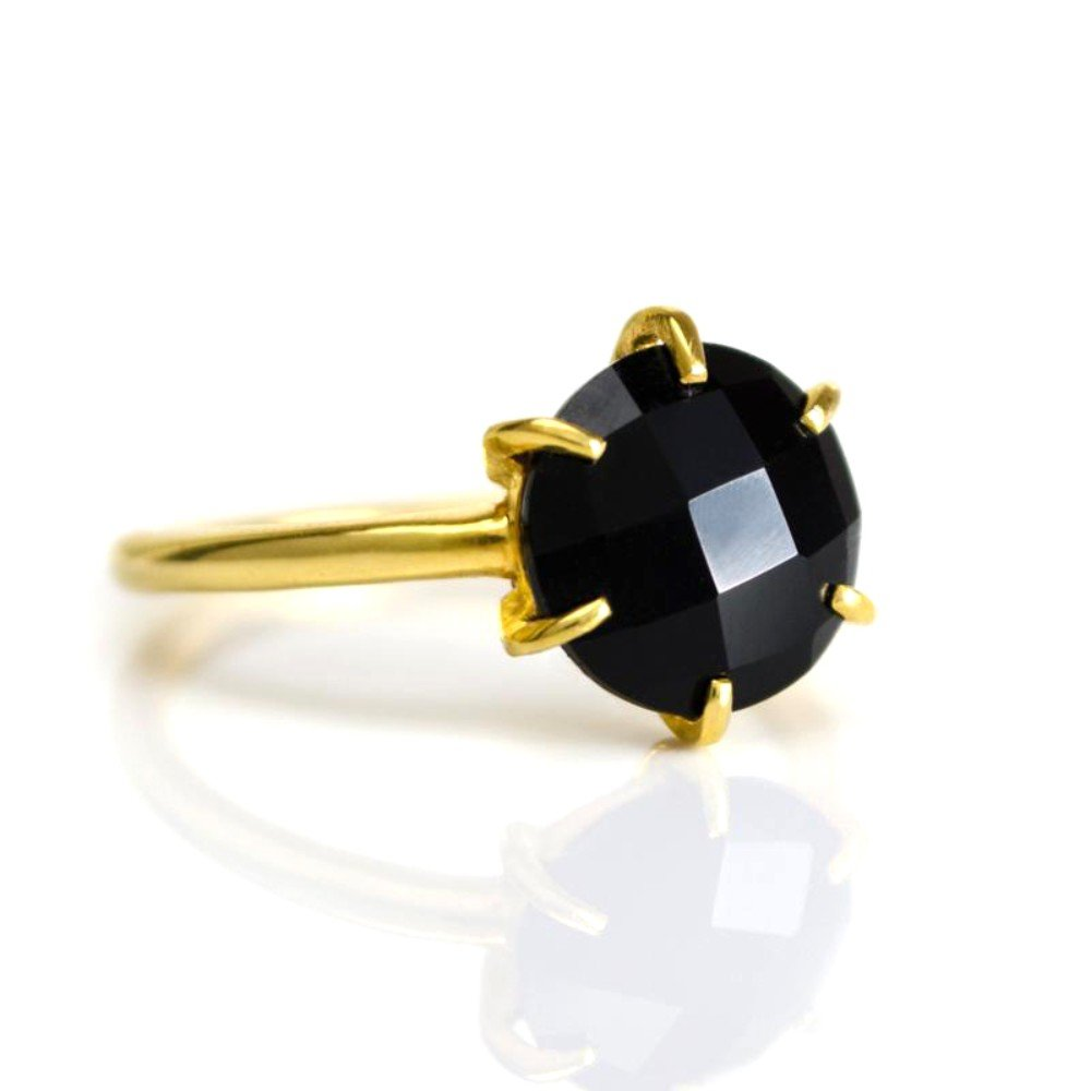 DV Jewels Black Onyx Round Prong Set Ring