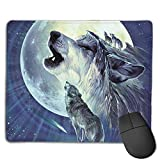 Non-Slip Mouse Pad Rubber Mousepad Wolf Family Print Gaming Mouse Pad 18 * 22 cm