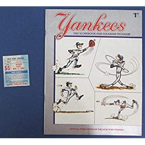1983 New York Yankees Vs Tigers Official Program Scorecard w/Ticket Stub 125600