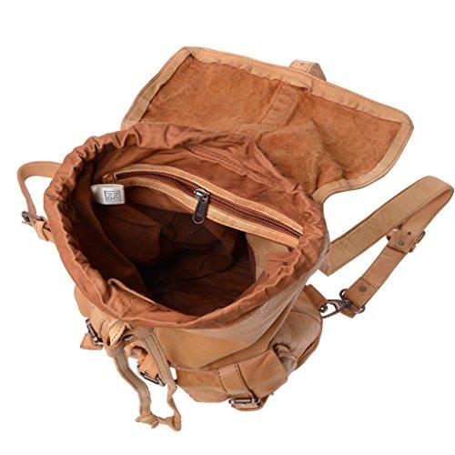 Mochila piel teñida en prenda estilo vivido vintage 2 correas DUDU Nut Brown