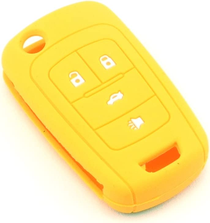 iSaddle Silicone Protecting Vehicle Remote Start Key Case Cover Fob Holder for Chevrolet Camaro Cruze Equinox Malibu Orlando Sonic Green Color