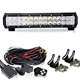 """14"""" Led Light Bar + 1Lead Remote Wiring Kit On Rack Grill Bumper Reverse BackUp Auxiliary For Golf Cart Jeep Tractor Polaris Atv Yamaha Lawnmower Rzr Quad Side By Side Off-Road Ford F150 Hummer"""