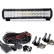 "14"" Led Light Bar + 1Lead Remote Wiring Kit On Rack Grill Bumper Reverse BackUp Auxiliary For Golf Cart Jeep Tractor Polaris Atv Yamaha Lawnmower Rzr Quad Side By Side Off-Road Ford F150 Hummer"