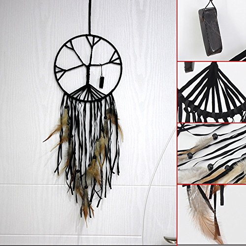 The Tree of Life Dream Catcher Handmade Beaded Feather Natural Stone Hanging Dram Catcher Home Decor
