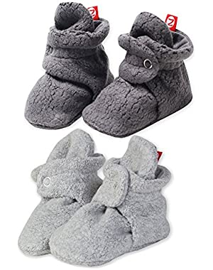 Booties Fleece Unisex Baby Booties For Boys Girls Slippers Heather 2 Pack