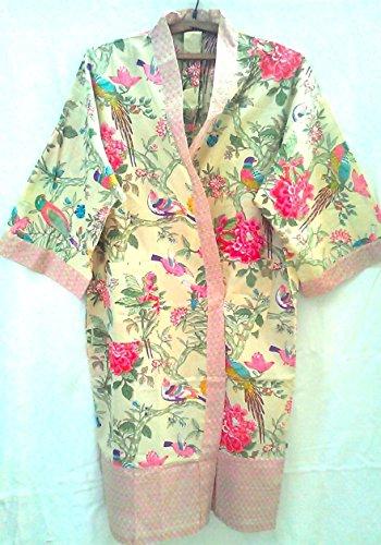 Citrus Chinoiserie Bird & Flower Hand print Indian cotton Kimono Robe One size]()