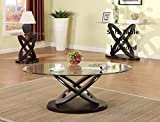 Brand New 3-pack Cyclone Oval Coffee Table (1)and End Table (2) set with 8mm Glass Table Top