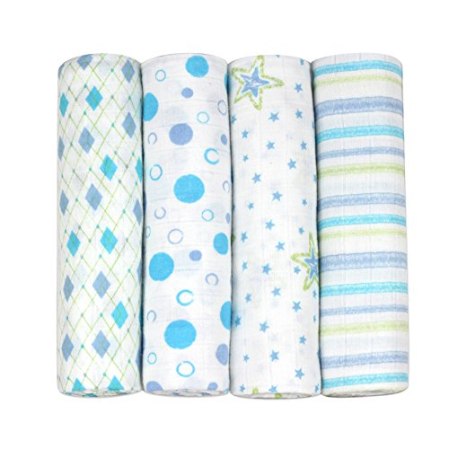 j & alexs 100% Cotton Muslin Swaddle Blankets in Little Gentleman 4 count with Rockin Green Laundry Soap
