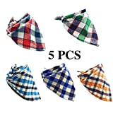 PACCOMFET 5 PCS Dog Bandana Triangle Bibs Checked Scarfs Accessories for Pet Cats and Puppies Random