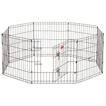 Pet Exercise Pen - Lucky Dog - Wire Indoor Outdoor Play Pen - Features Sturdy Wire Construction, Security Latches, Modular, Design Outdoor Anchor Pins