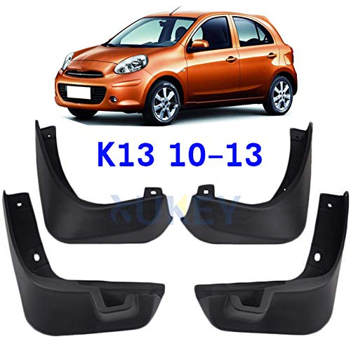 (XUKEY Auto Molded Splash Guards for 2010-2013 Nissan March Micra K13 Mud Flaps - Front & Rear 4 Pieces Set)