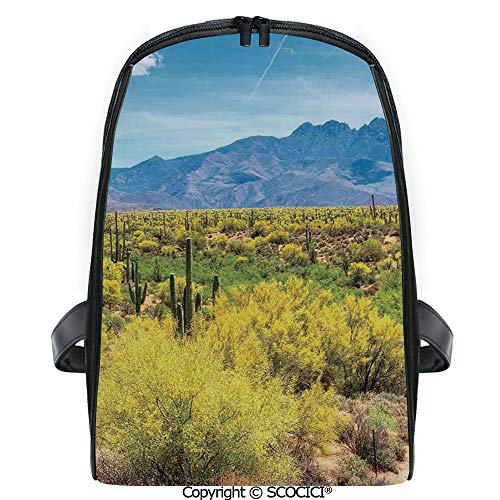 SCOCICI Lightweight Travel Backpack Photo Image Landscape of Desert Field of Cactus Stones Spikes Leaves Artwork Holiday Gift for Girls