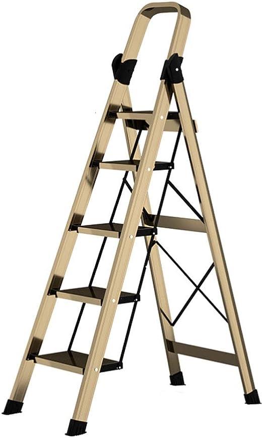 Longteng Escalera De Aluminio, Hogar De Cuatro Pasos Ingeniería Escalera Plegable, Cubierta Multifuncional Espiga De Escalera, De Herradura-Tipo Antideslizante del Cojín del Pie (Color : Five Steps): Amazon.es: Hogar