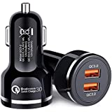 Car Charger, Ailkin 2 Pack-48W Output, Quick Charge 3.0 Dual Ports USB Fast Charging Travel Adapter Replacement for iPhone X/8/7/Plus, Samsung Galaxy S9/S8/Note, LG, Moto, Kindle Fire and More
