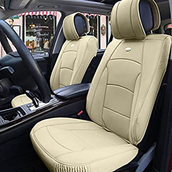 FH Group PU205SOLIDBEIGE102 PU205102 Ultra Comfort Leatherette Front Seat Cushions (Airbag Compatible) Solid Beige
