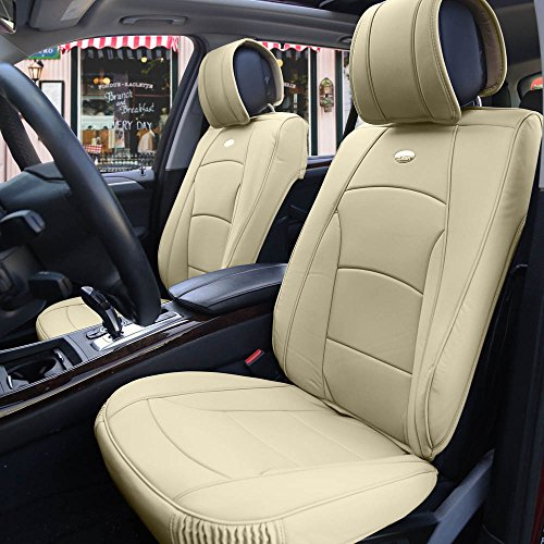 FH Group PU205SOLIDBEIGE102 PU205102 Ultra Comfort Leatherette Front Seat Cushions (Airbag Compatible) Solid - 2011 Seat Covers Escape Ford