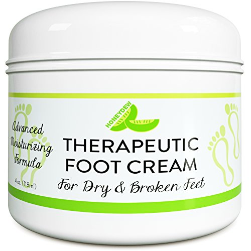 All Natural Shea Butter Moisturizing Foot Cream for Dry and Cracked Feet – Foot Care Lotion for Cracked Heels – Ultra- Hydrating Cream with Coconut Oil and Jojoba for Men and Women – 4oz – By HoneyDew by Honeydew (Image #1)